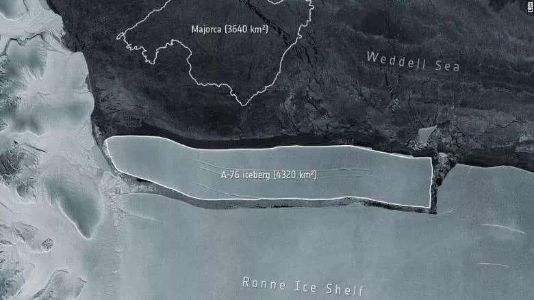 بزرگترین کوه یخ دنیا از قطب جنوب جدا شد