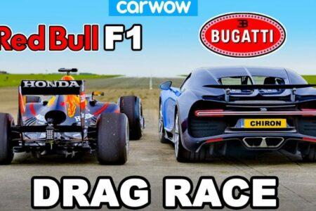 مسابقه درگ بوگاتی شیرون و خودروی فرمول یک ردبول [تماشا کنید]