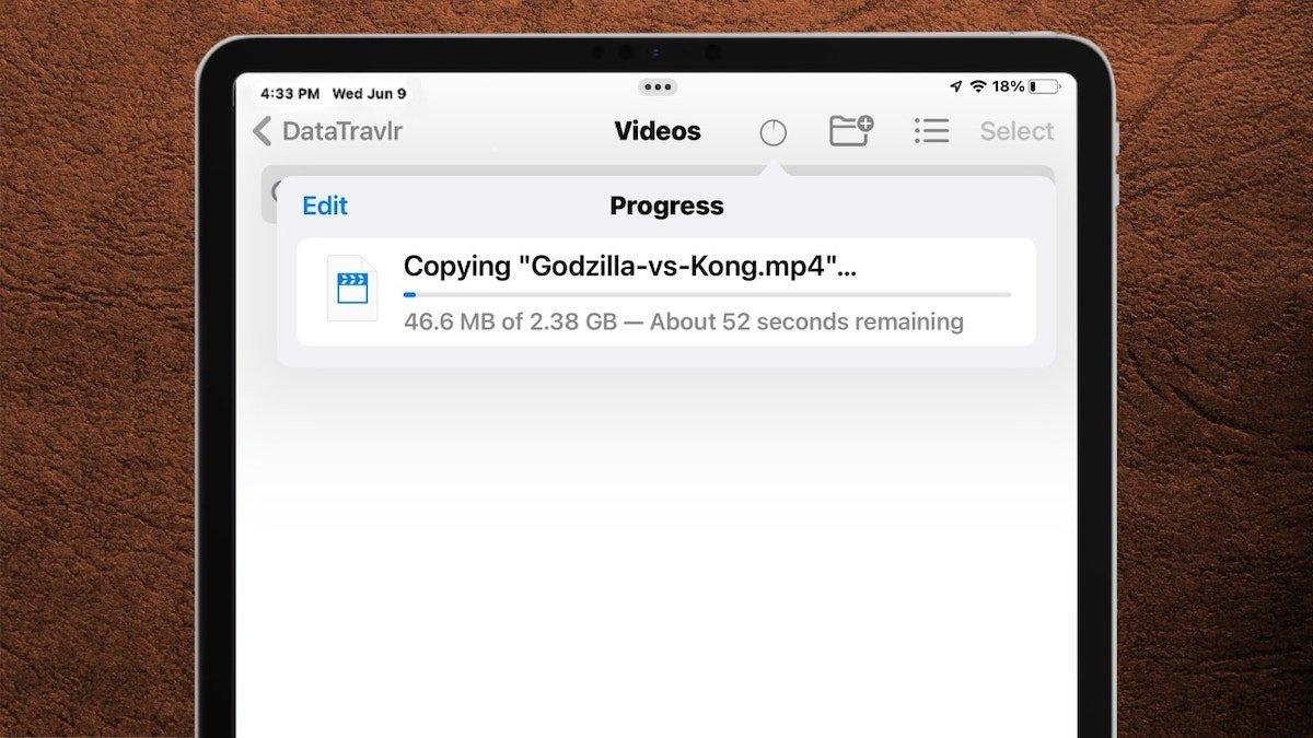 اپ Files در iPadOS 15 از فرمت NTFS و نوار پیشرفت انتقال فایل پشتیبانی میکند