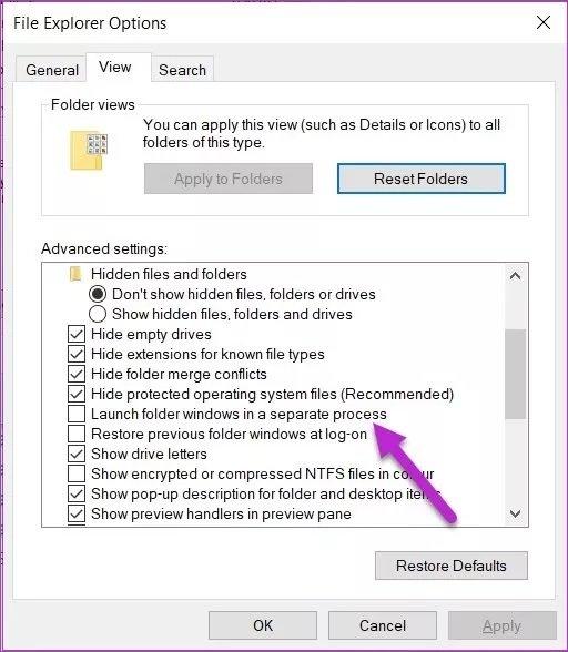 مشکل فایل اکسپلورر در ویندوز 10
