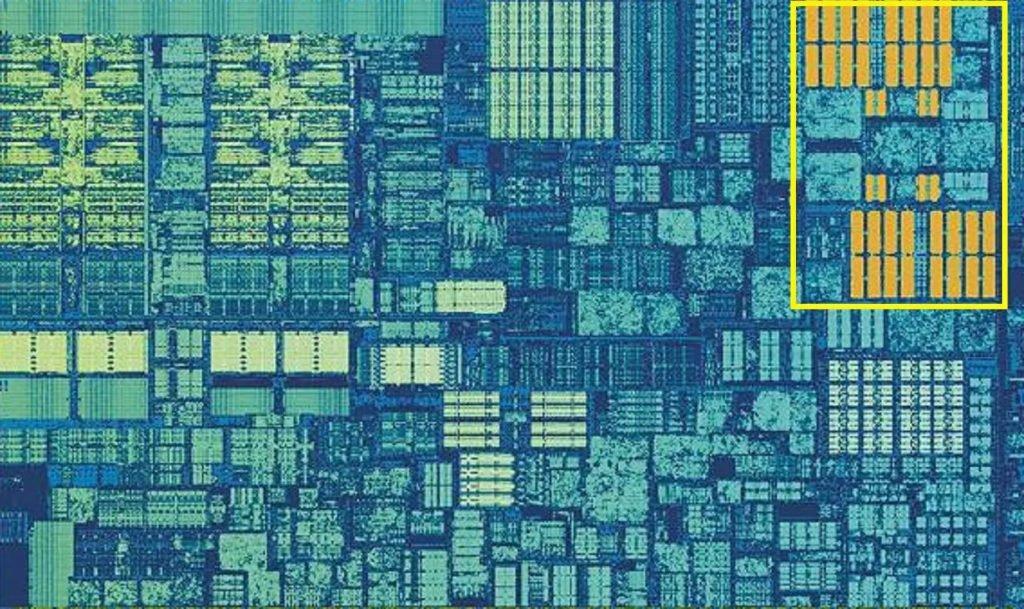 صویر زوم شده بخشی از هسته سیپییوی دسکتاپ اینل اسکای لیک (Intel's Skylake)