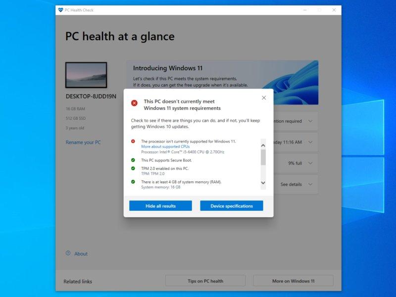 آپدیت PC Health Check با ارائه اطلاعات بیشتر درباره نصب ویندوز ۱۱ منتشر شد