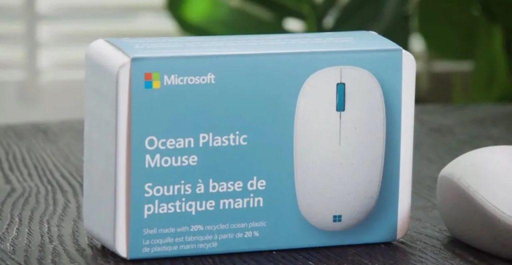 ماوس جدید مایکروسافت و جعبه آن با پلاستیک بازیافتی اقیانوس ساخته شده