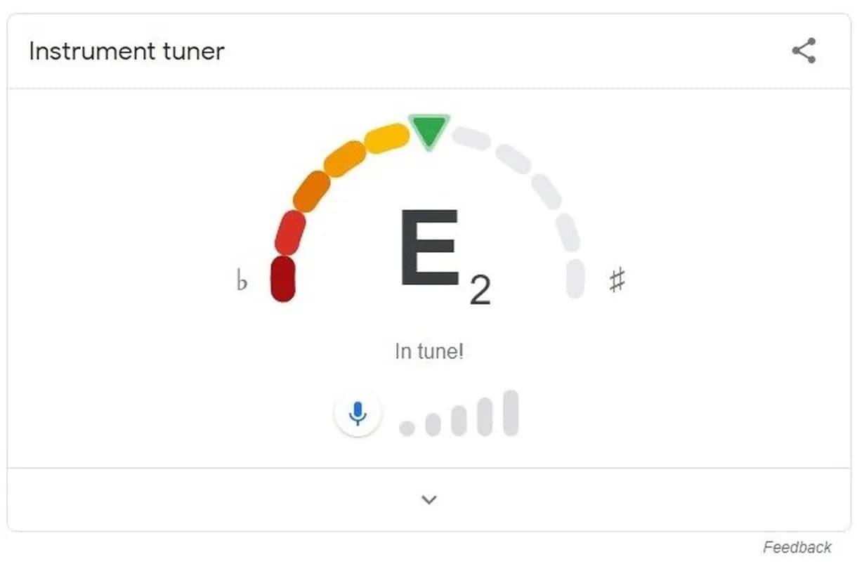 موتور جستجو گوگل به ابزار کاربردی تنظیم گیتار مجهز شد