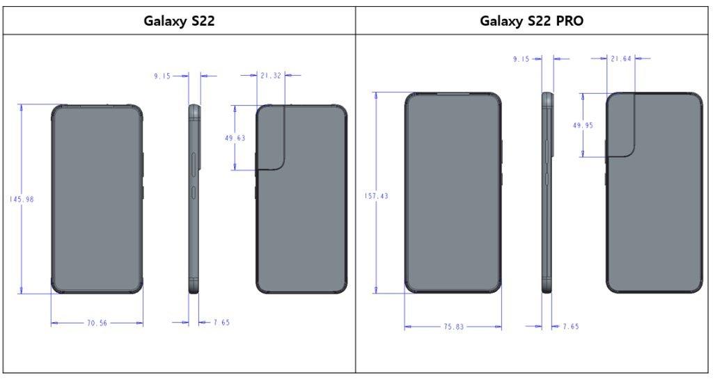 تصاویر شماتیک سری گلکسی S22 تفاوت مدلهای این خانواده را نشان میدهد